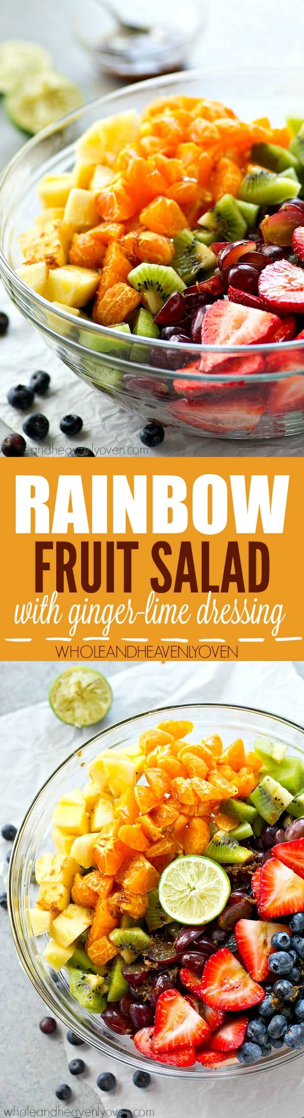 This rainbow-style fruit salad is loaded with just about every fruit there is and a tangy ginger lime dressing takes the flavors over the top!---The perfect side dish for any spring or summer gathering.