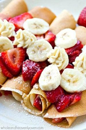 Strawberry Banana Cheesecake Crepe Enchiladas