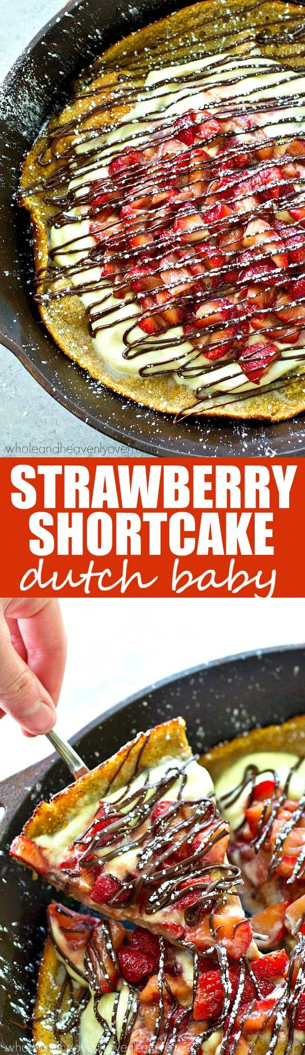 You'll NEVER have a breakfast more fun than this summertime dutch baby! Juicy strawberries, whipped cream, and plenty of melted chocolate piled inside make it a fun spin off of strawberry shortcake!