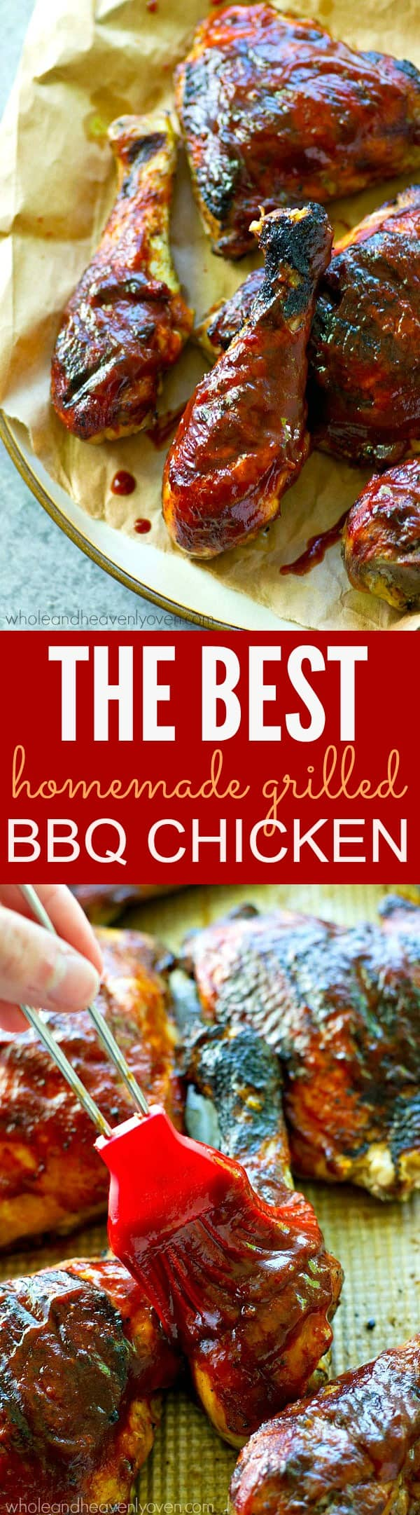 The secret to the best homemade BBQ chicken? Made-from-scratch BBQ sauce and lots of it! This chicken is smothered with tons of flavorful sauce, beautifully smoky, and is the absolute quintessential cookout chicken!