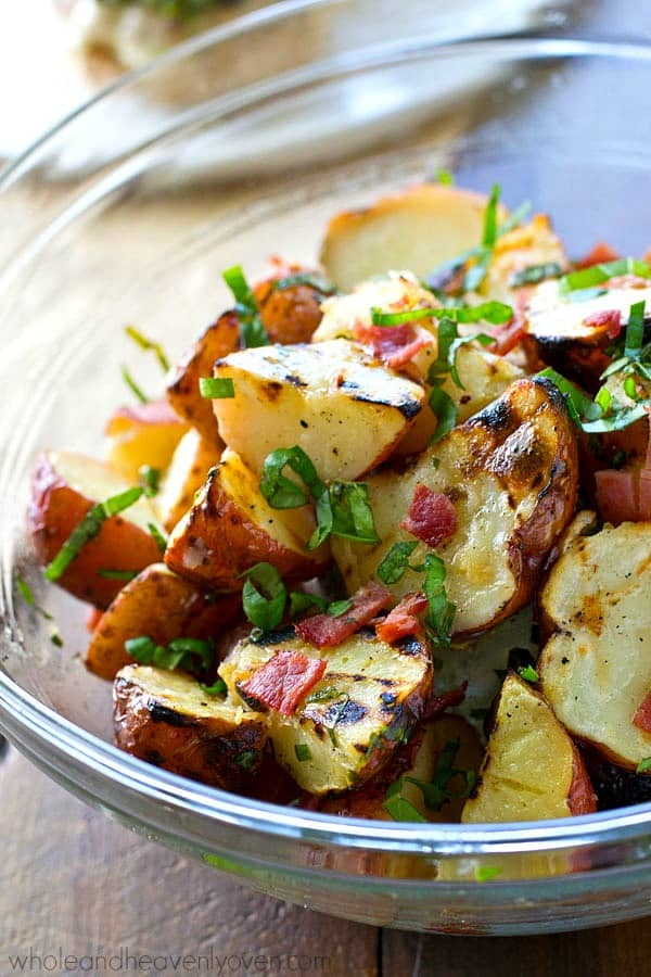Grilled Red Potato Salad With Bacon Basil Dressing