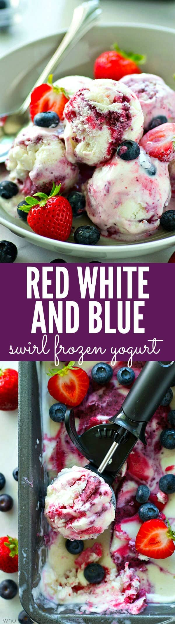 Swirled with blueberries and strawberries for a fun patriotic effect and made with only FIVE ingredients, this creamy frozen yogurt is a must-have for the 4th of July!