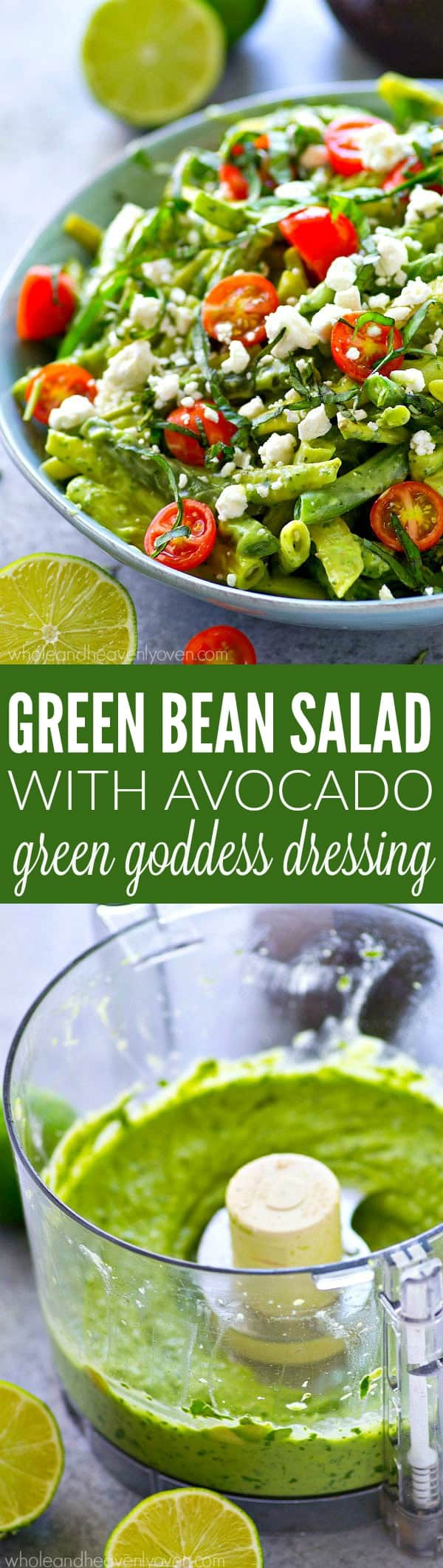 Make good use of those farmer's market green beans with this incredible green bean salad that's packed with cherry tomatoes, crumbly feta, and an insanely-flavorful avocado green goddess dressing.