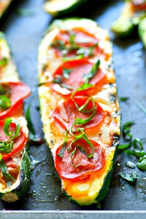 The healthiest form of pizza you'll ever have! These grilled zucchini boats only need 6 ingredients and 20 minutes of your time to throw together and they'll definitely satisfy that pizza craving!
