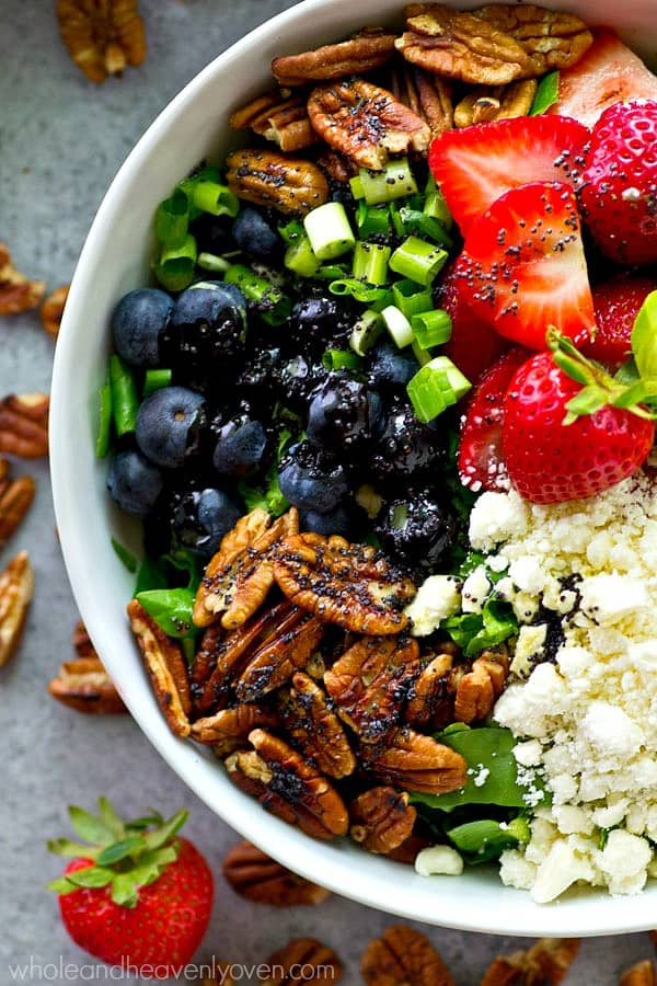 Perfect for a post-weekend detox, this colorful berry-loaded power salad will jump start your healthy goals for the week and you will love every power-packed bite!