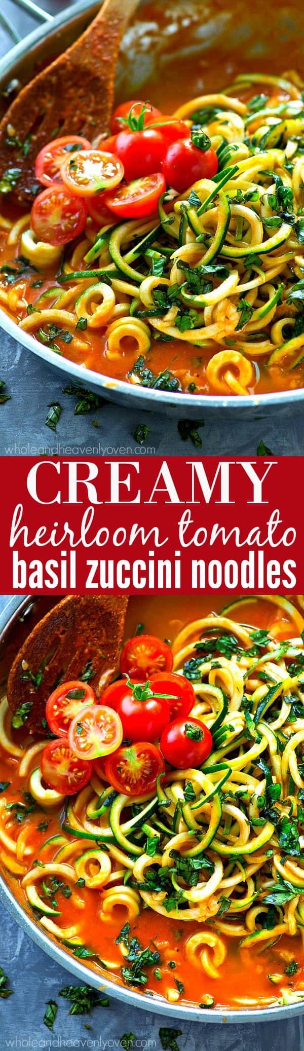A rich and flavorful made-from-scratch heirloom tomato sauce is the secret to what makes these zucchini noodles SO good! No one would ever guess it's ready in only 20 minutes with a handful of ingredients!