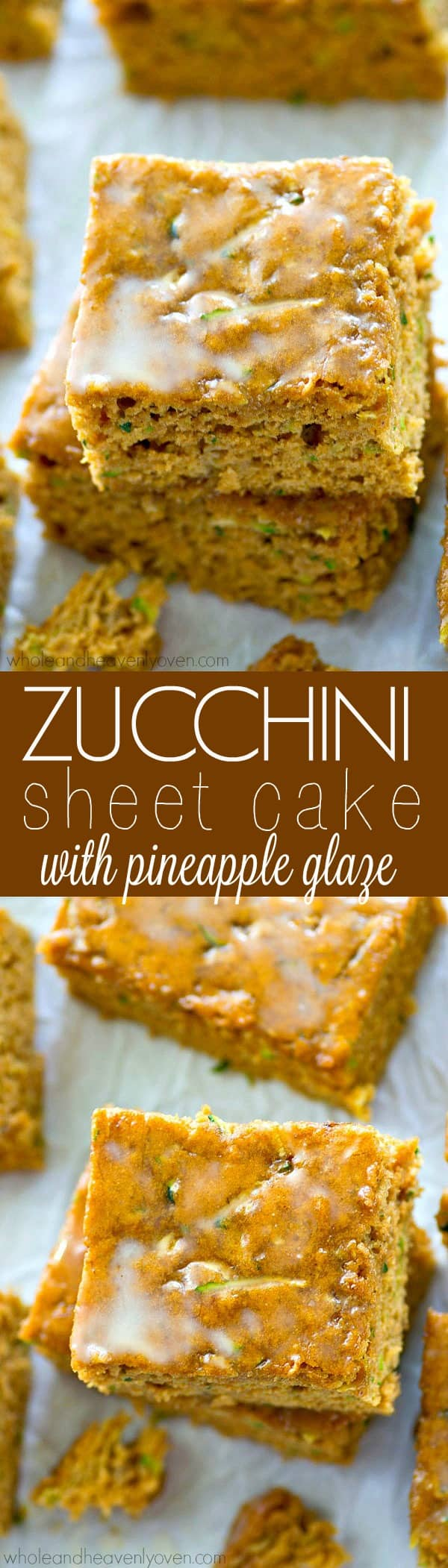 Unbelievably soft zucchini sheet cake gets dressed up in a tangy pineapple glaze for one healthy summer dessert you'll want to make ALL the time!---Only 129 calories per slice!