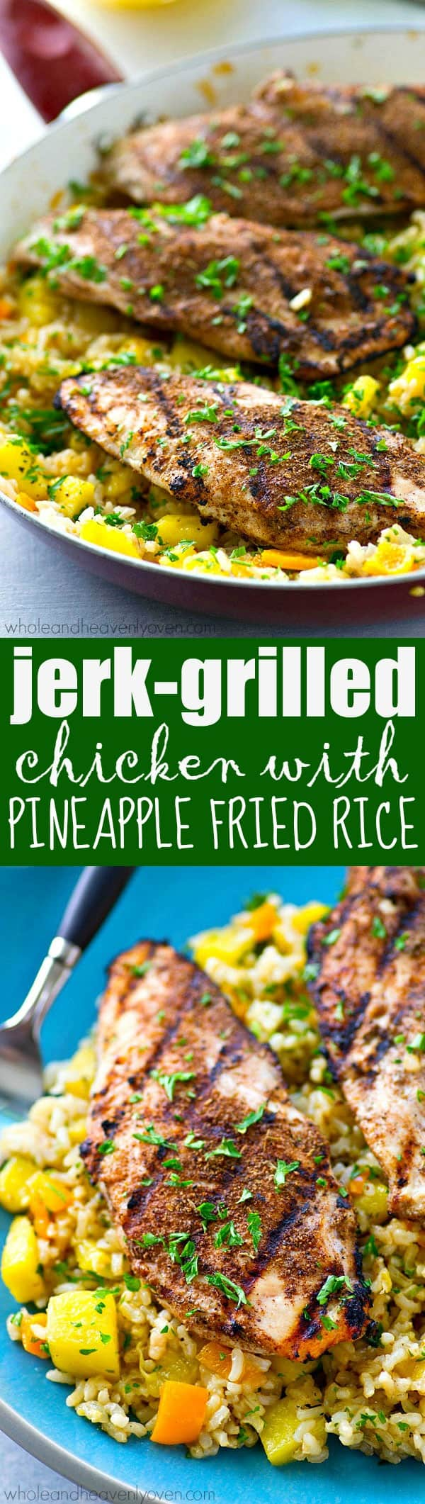 Sweet 'n' spicy grilled jerk chicken is the perfect match for tropical fried rice with plenty of fresh pineapple.---This 20-minute dinner is SO easy to throw together for a busy weeknight.