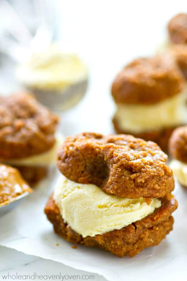 Love nutter butters? Your mind is going to be BLOWN by these flourless ice cream sandwiches that are on the healthy side and so easy to make!