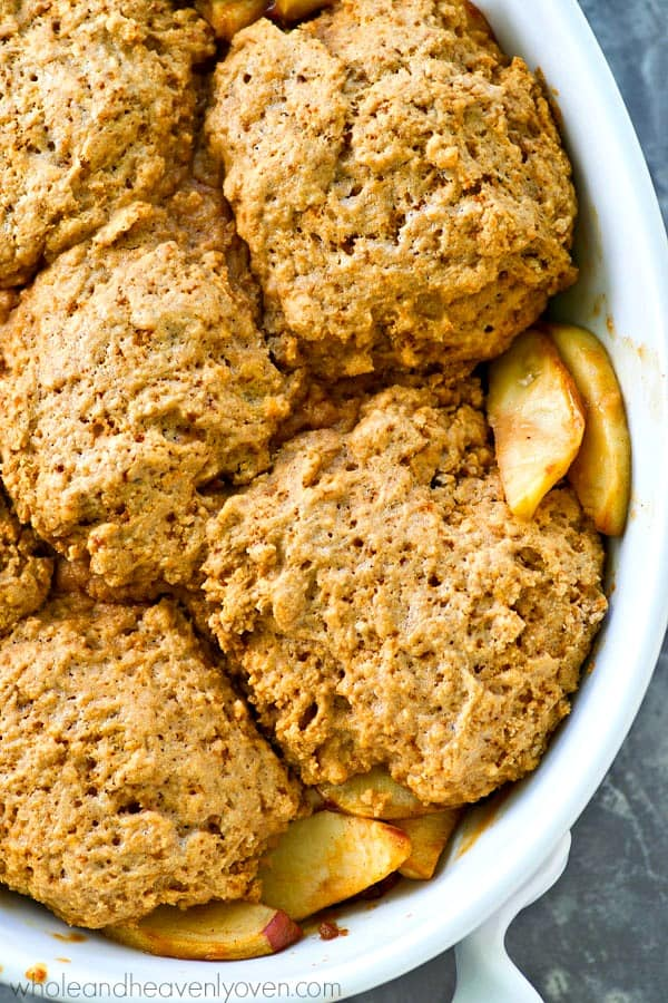 Flaky browned butter biscuits and tender spiced apples are a winner fall match in this unbelievably easy apple cobbler that's the perfect way to use up all those fall apples!