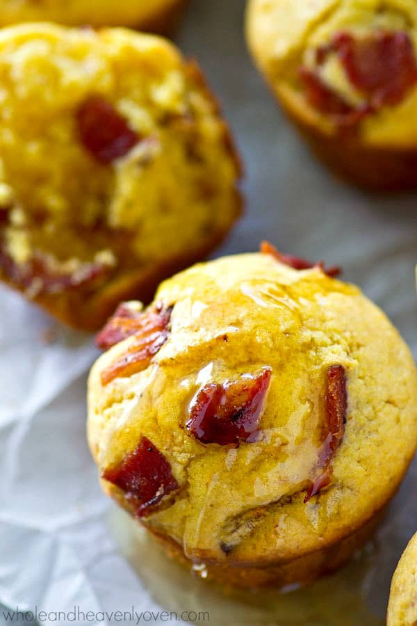 These soft, fluffy cornbread muffins are packed with tons of crispy bacon and browned butter does wonders for flavor! Dig into these warm from the oven with lots of honey drizzled on top.
