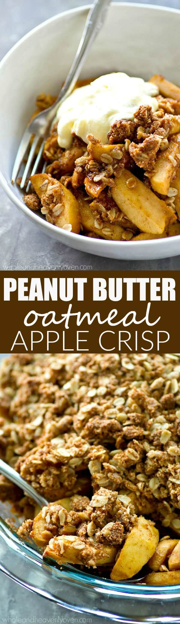 Peanut butter and apples are a killer combination that you won't want to miss out on in this insanely-good apple crisp! Serve warm with lots of whipped cream or ice cream.