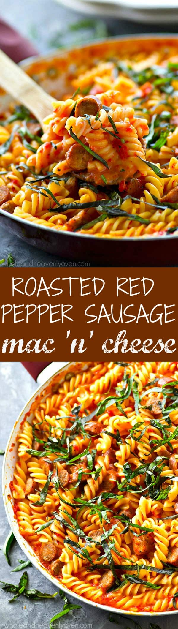 Take that weeknight mac 'n' cheese up a notch! This skillet mac 'n' cheese is smothered in a flavorful roasted red pepper cheese sauce and loaded with tons of sliced sausage.