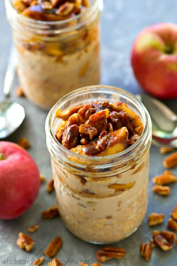 Caramelized apples and cinnamon roll flavors take over your morning oatmeal! These overnight oats are unbelievably simple to make and so amazing for a grab-and-go breakfast, you'll be making them all week!