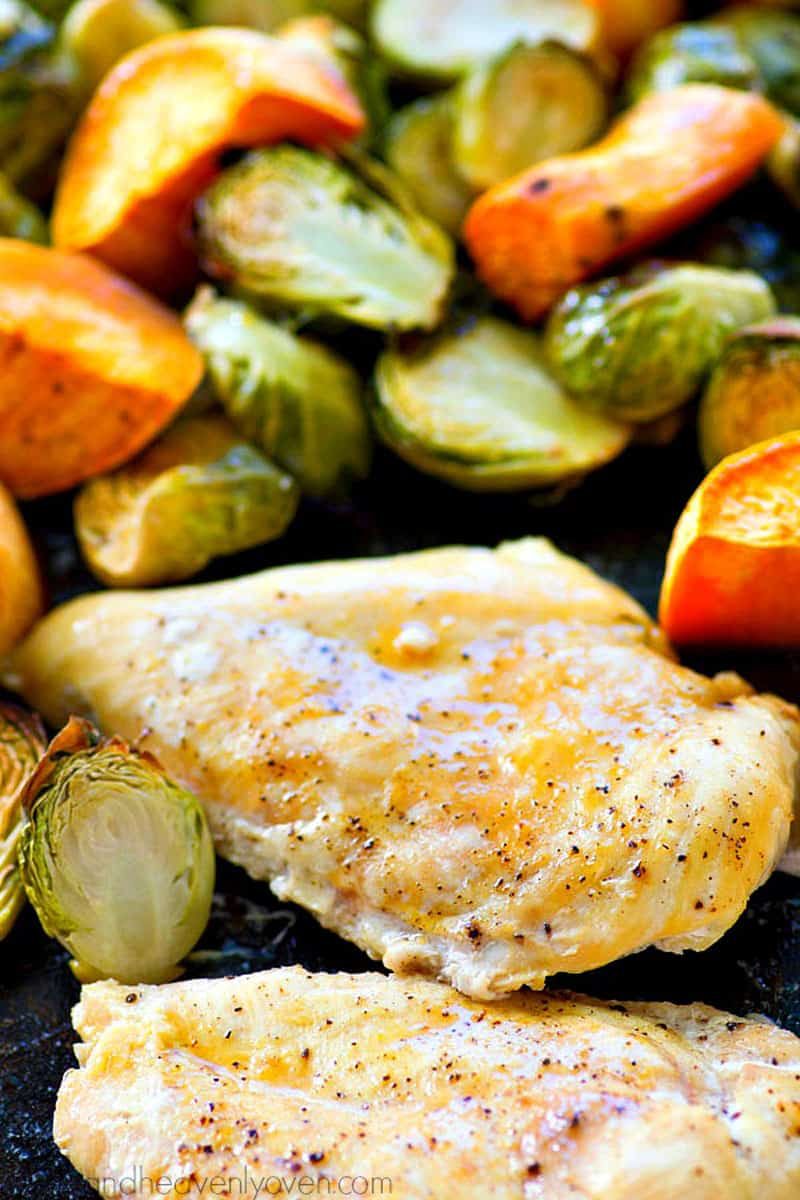 Maple roasted chicken with sweet potatoes and brussel sprouts