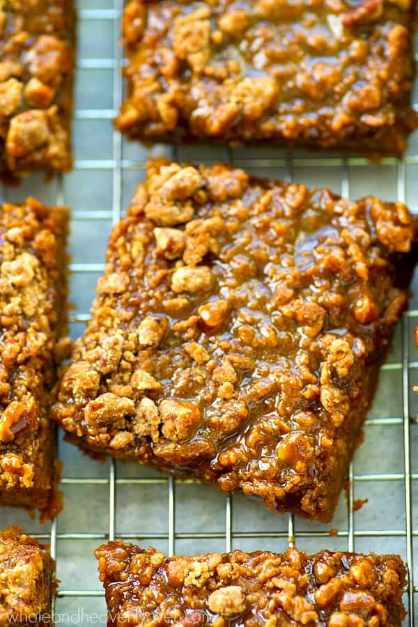 These caramel-glazed crumb bars taste just like a big slice of silky pumpkin pie! They're unbelievably easy to throw together and so perfect with a cup of coffee.