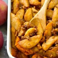 Sweet potato casserole gets an incredible makeover with this SUPER-easy version that features tons of tender caramelized apples piled on top.---Everyone will want seconds of this winner casserole!