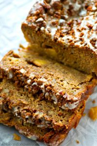Studded with tender apple pieces and covered with tons of buttery streusel and glaze, this fall-style banana bread is so addicting, you might eat the entire loaf by yourself!