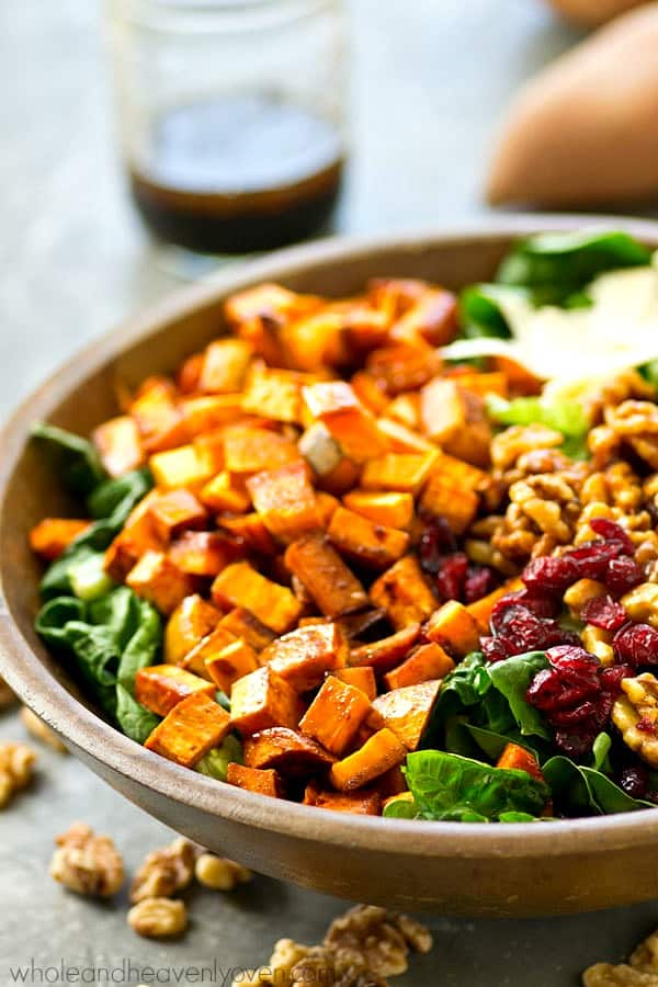 Moroccan Sweet Potato Salad With Candied Walnuts Maple Dressing