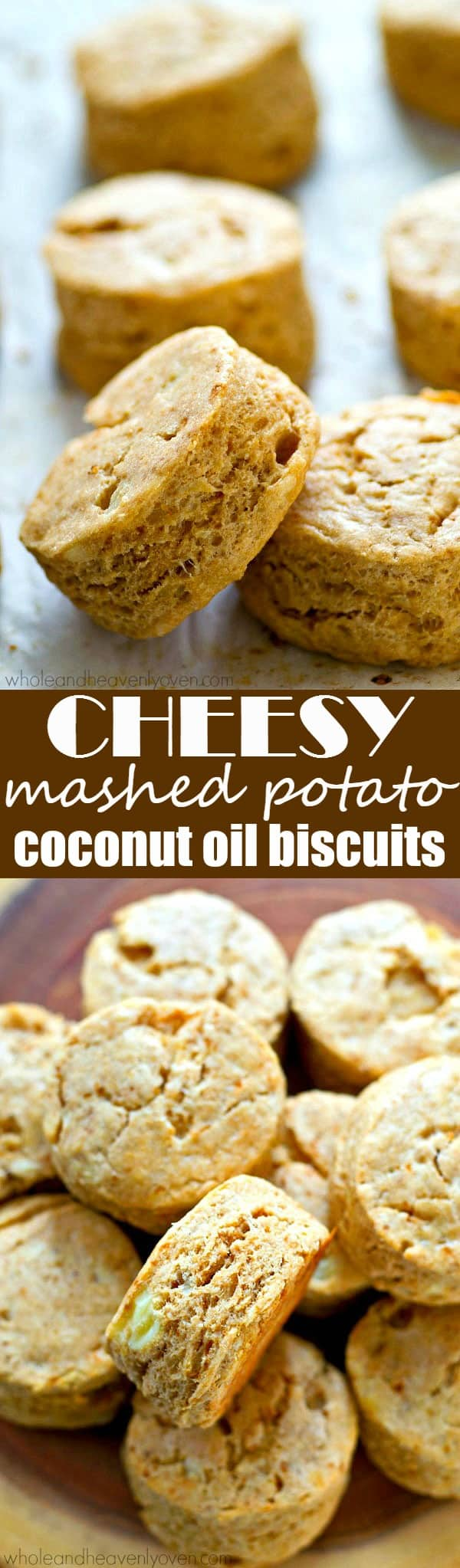 Mashed potatoes take these cheesy coconut oil biscuits OVER the top! They're so unbelievably flaky and so amazing with tons of butter and a bowl of soup!