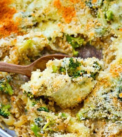 Flavorful caramelized onions and lots of tender broccoli come together in this one-pot cheesy rice skillet that's SUPER easy to throw together and even your pickiest eaters will love it!