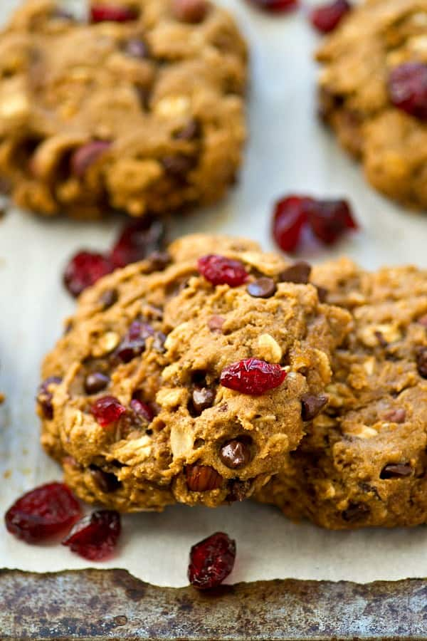 Grab one bowl and only a handful of ingredients to make these jam-packed breakfast cookies! They're ultimately-soft and chewy and only 147 calories per cookie!