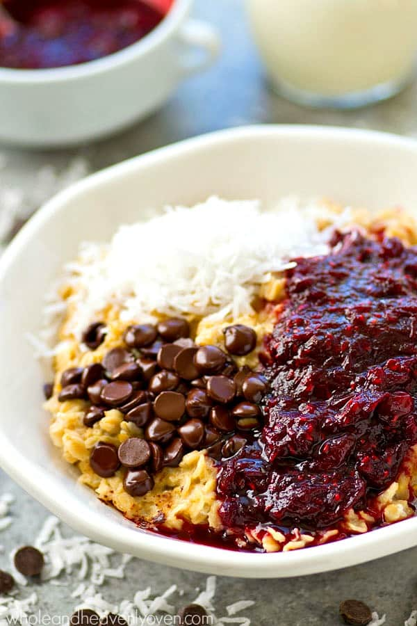 These easy oatmeal bowls are loaded with tons of power-packed protein and a tangy cranberry raspberry compote takes them over the top! Easiest healthy breakfast ever.