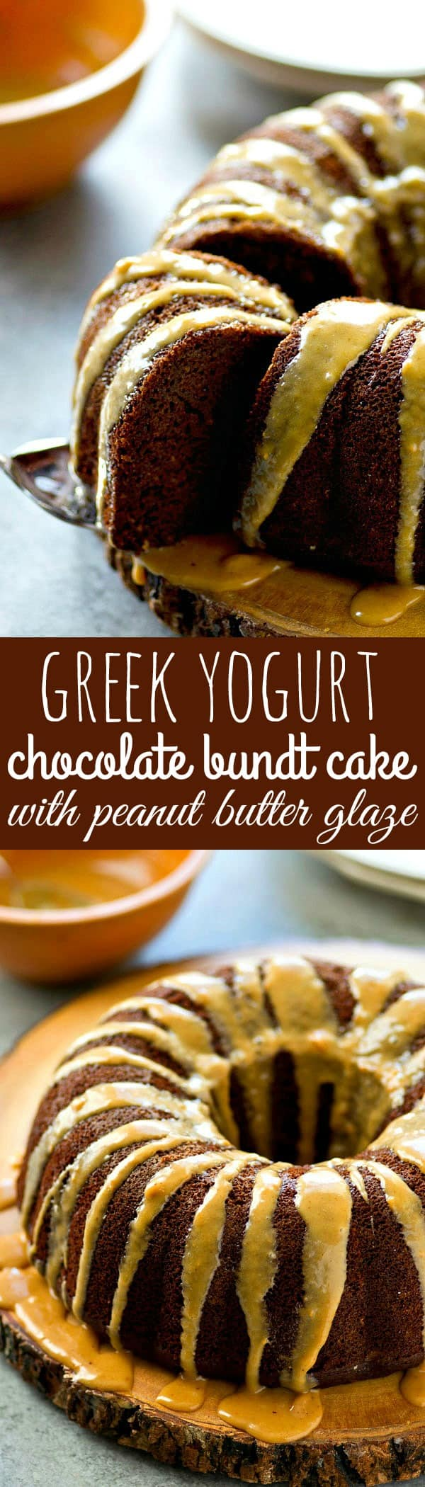 Classic chocolate bundt cake gets a healthy makeover by using greek yogurt! This stunning cake is ultimately chocolate-y and moist inside and drizzled with an amazing peanut butter glaze!