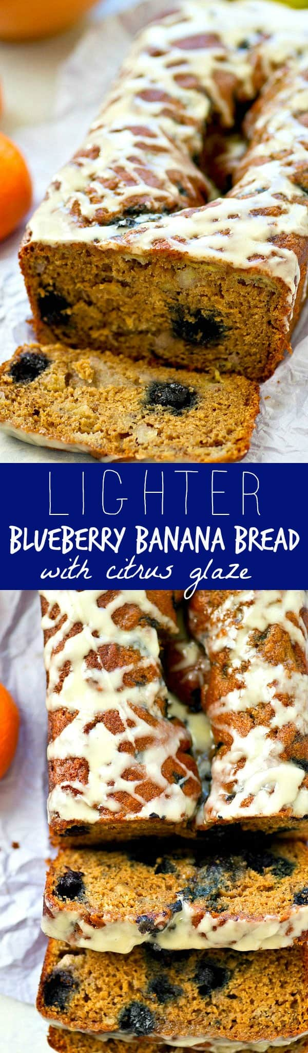 Blueberry banana bread gets a lighter makeover! This easy one-bowl banana bread is studded with tons of juicy blueberries and drizzled in a tangy, irresistible citrus glaze.