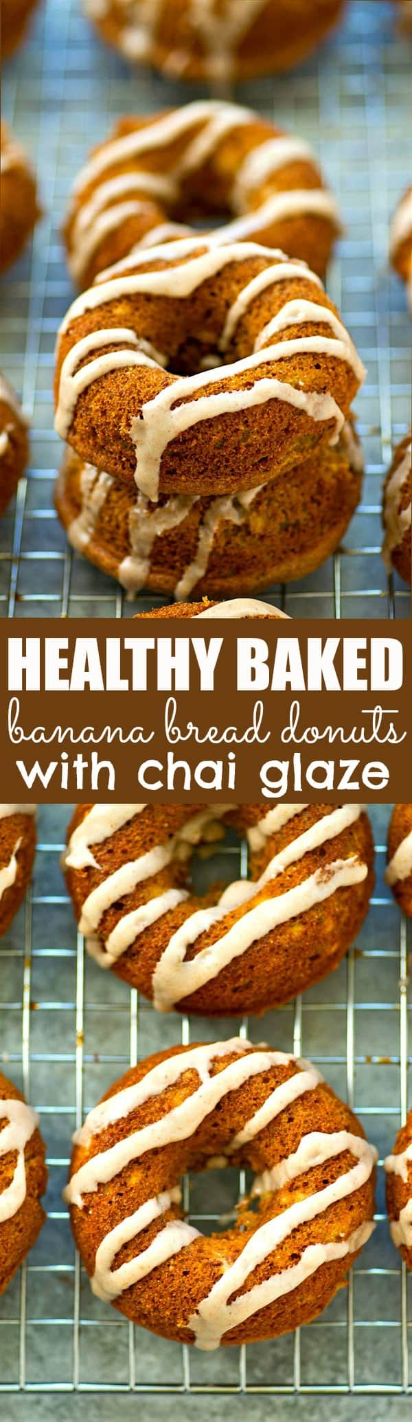 Banana bread in healthy donut form! These soft banana bread donuts taste just like a piece of banana bread and a spicy chai glaze drizzled on top makes them irresistible!