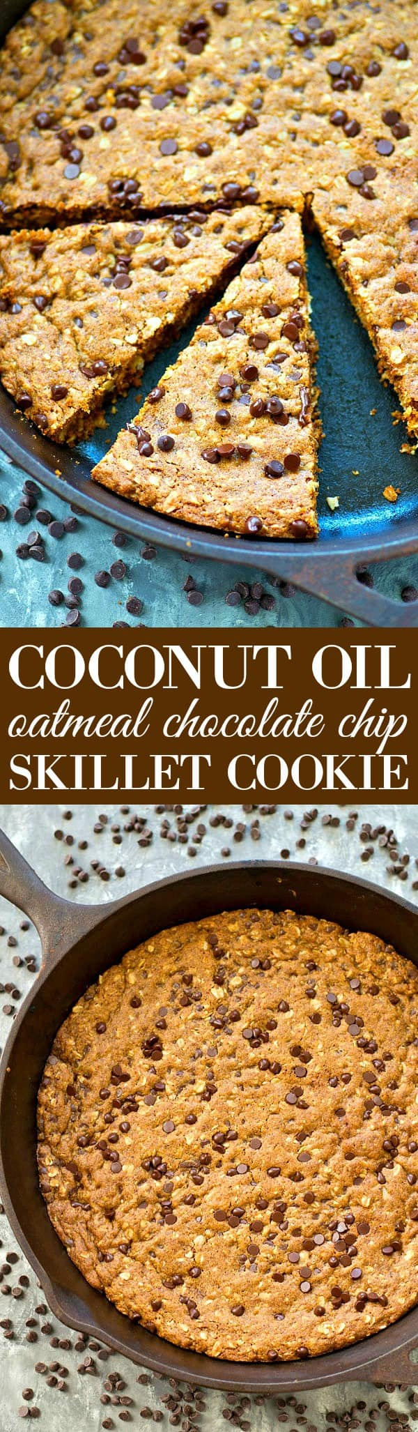 NO butter in this insanely-soft and chewy oatmeal chocolate chip skillet cookie! The dough mixes up in one bowl and it all bakes up in one skillet for whenever you get that warm cookie craving!