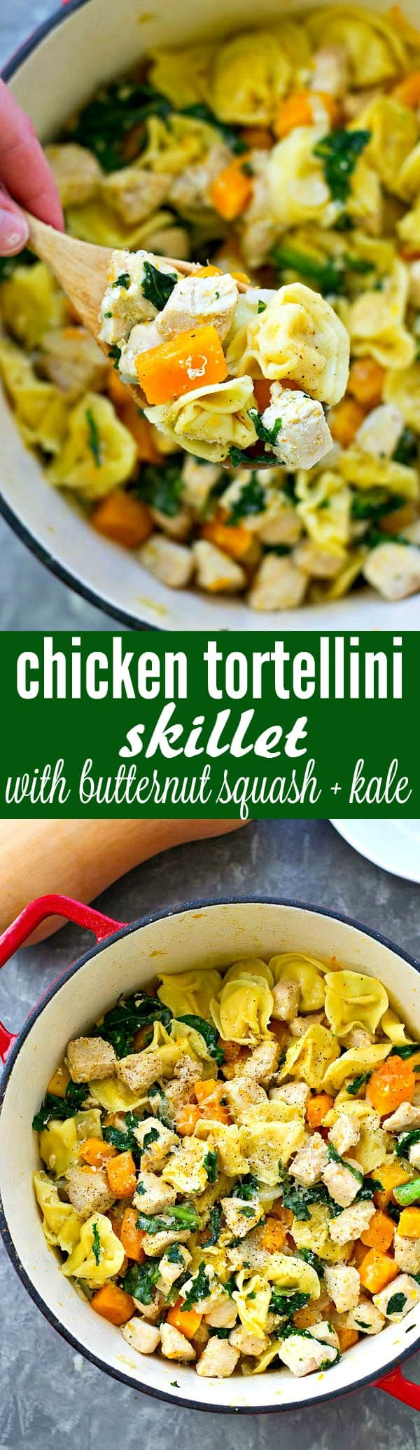 Packed with cheese tortellini, chicken, and lots of butternut squash and fresh kale, this healthier tortellini skillet is an entire easy dinner-in-one that your family won't be able to get enough of!