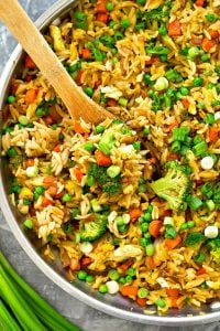 This healthier vegetarian take on classic fried rice uses orzo instead of rice and a rainbow of fresh vegetables! You'll only need a few ingredients and 30 minutes to put it on the dinner table.