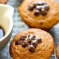 Get your chocolate and coffee fix all in one gorgeous HEALTHIER muffin! These chocolate chip muffins get their amazing texture from greek yogurt and they go amazing with your morning coffee!