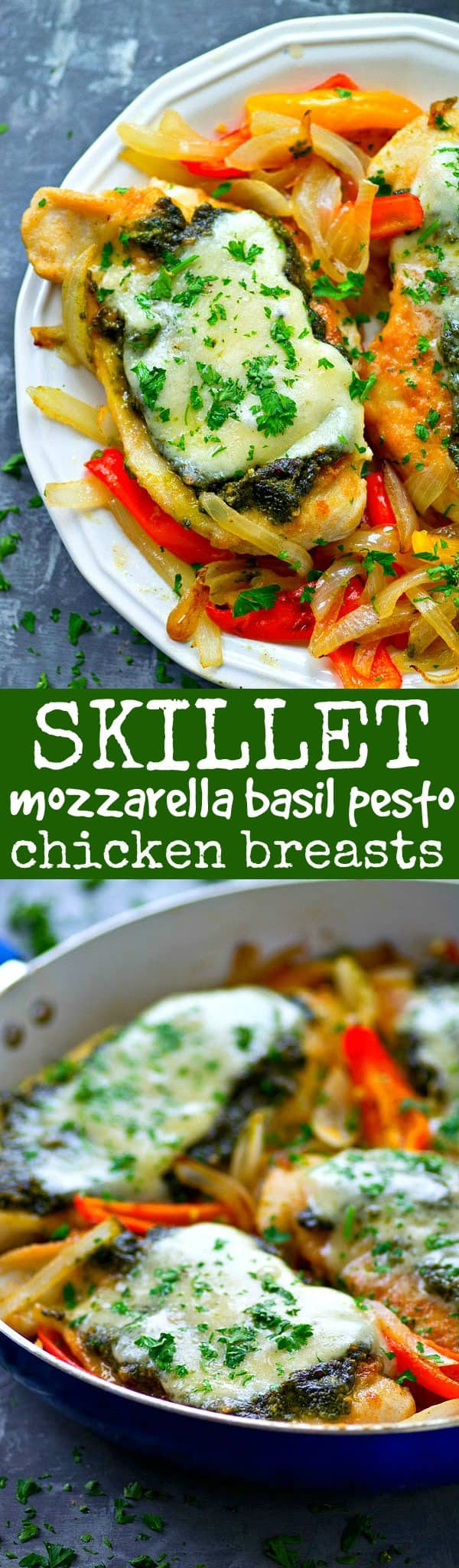 Pan-seared basil pesto chicken breasts get topped with a homemade basil pesto and lots of mozzarella cheese for an easy skillet chicken dinner ready in under 30 minutes!