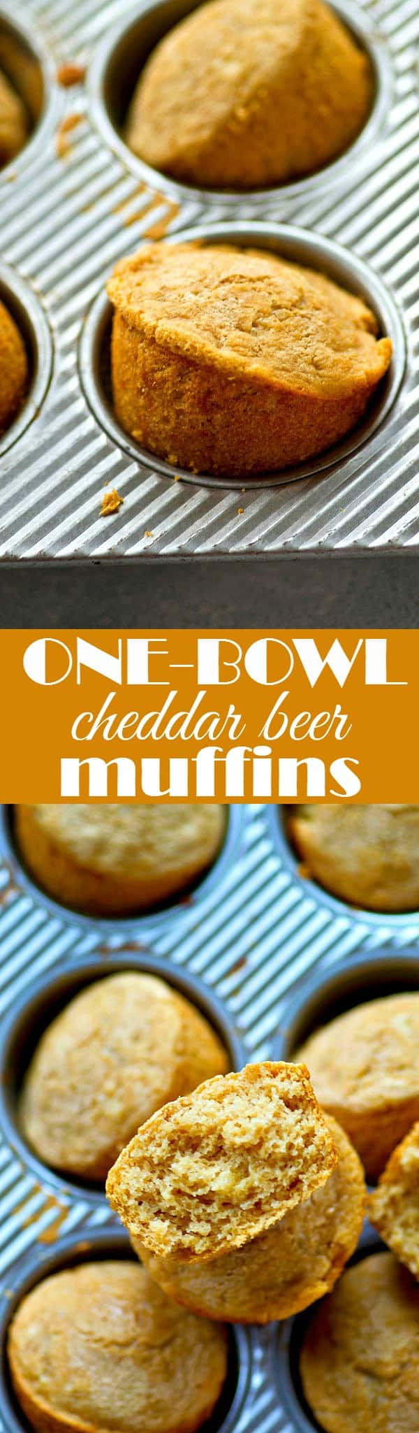 One bowl and 7 ingredients is all you're going to need to mix up batch after batch of these insanely-soft cheddar beer muffins.---They're SO good next to a bowl of chili!