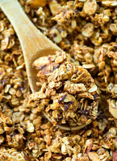 This mocha granola is a peanut butter chocolate lover's dream! It's easy to bake up and SO good with vanilla greek yogurt...or just by the handful.