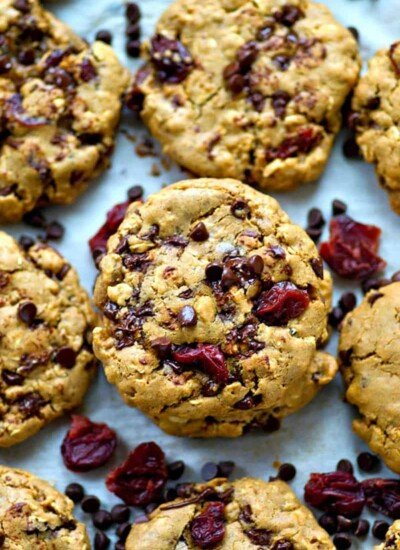 Browned butter makes these loaded oatmeal cookies UNBELIEVABLY soft and chewy, plus they're packed with tangy dried cherries and tons of gooey chocolate chips.