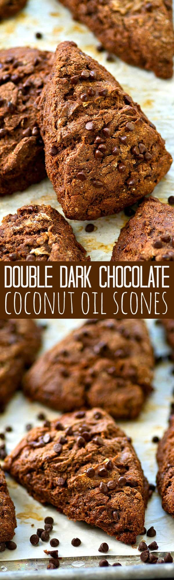 Packed with a double-whammy of chocolate and SO easy to whip up, these flaky coconut oil scones will quickly become a weekend breakfast favorite. Make a double batch for the freezer!