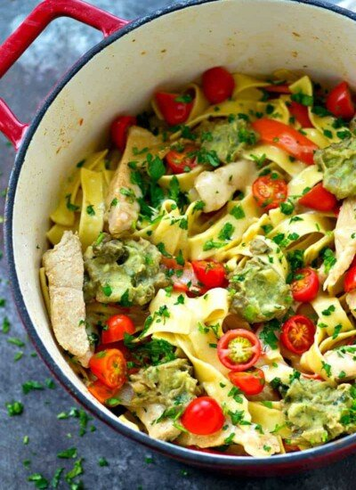 Everything you love about chicken fajitas in one-pot fettuccine skillet form! This simple 30-minute weeknight dinner is quickly going to become a family favorite!