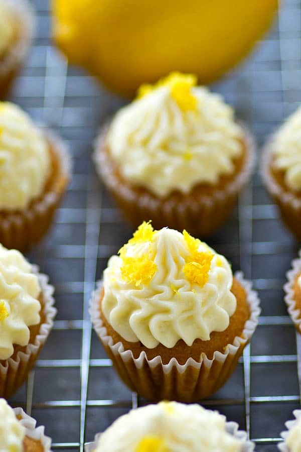 These mini lemon cupcakes are the absolute best ones out there! Tons of lemon flavor in the cupcakes and a rich cream cheese frosting on top is essential!