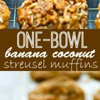 These one-bowl banana coconut streusel muffins are unbelievably moist and soft inside and the tops are piled high with the most amazing coconut streusel ever!