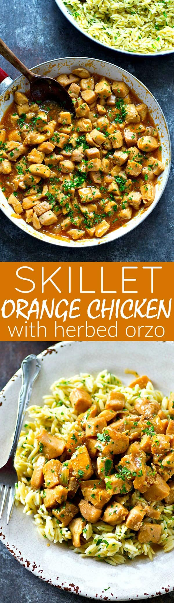 Orange chicken just like you get at Panda Express with the flavorful addition of herbed orzo. It's SUPER-easy to throw together in one pan and so much lighter on the calories!