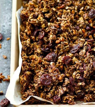 This addicting mocha cherry granola has the HUGEST clusters ever and it's nearly impossible to stop eating it! It's so good on vanilla yogurt or straight off the baking sheet!
