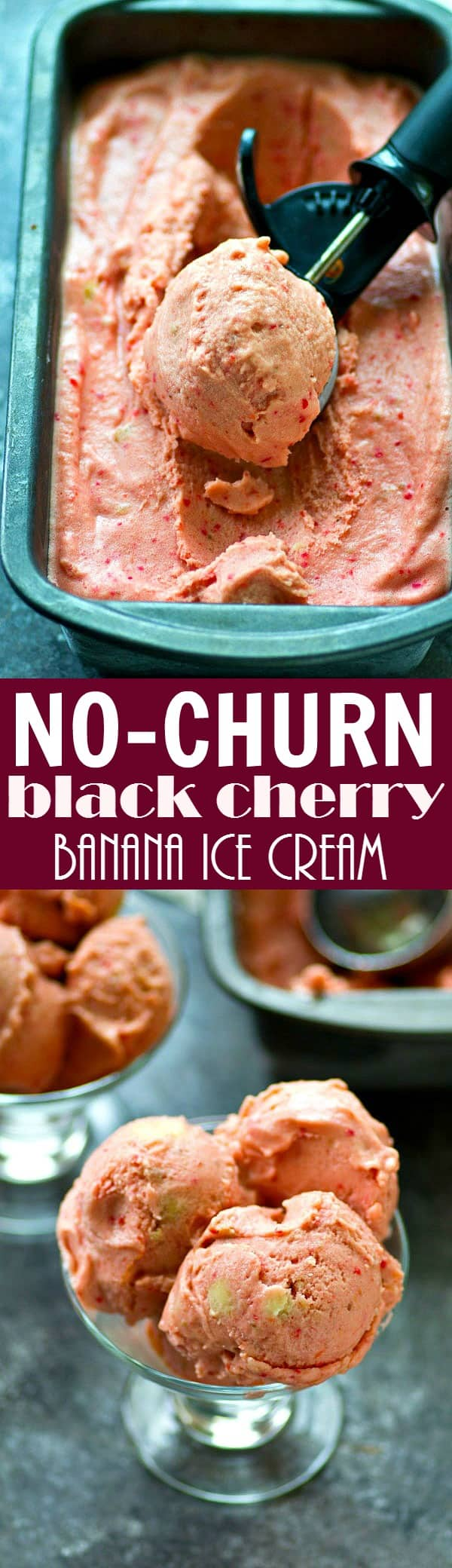 This no-churn black cherry banana ice cream blends up in only minutes and then the freezer takes care of the rest! The easiest ice cream to make this summer when you get that craving.
