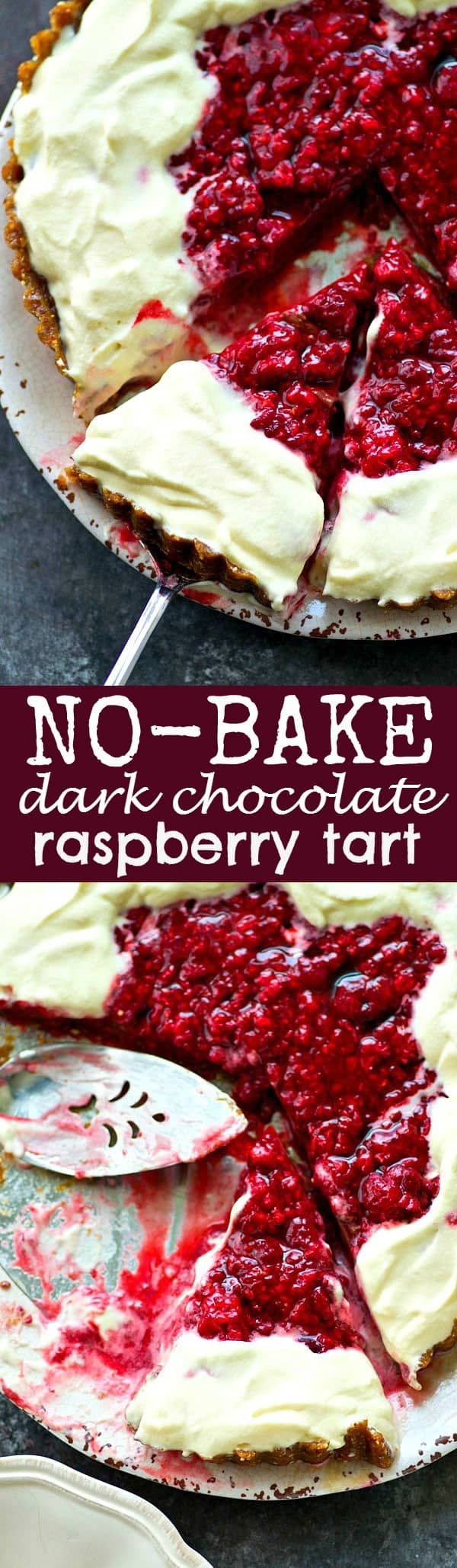 This easy no-bake dark chocolate raspberry tart is layered with a fudgy dark chocolate filling, tangy raspberry compote, and tons of whipped cream for one stunning summertime dessert!