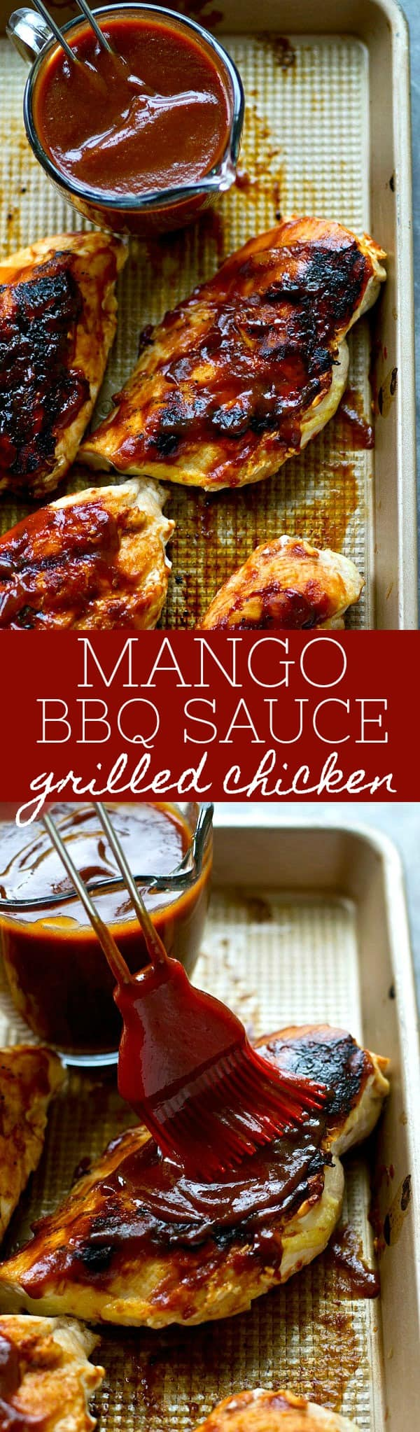 The most flavorful homemade BBQ sauce EVER collides with sweet mango and it all gets generously brushed over juicy grilled chicken.---Put this easy one on the summer dinner rotation!
