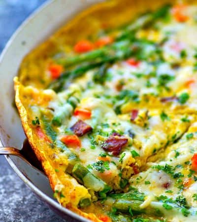 The EASIEST way to make eggs a little fancier! This swiss cheese asparagus bacon frittata is packed with tons of spring veggies, crispy bacon, and gooey swiss cheese.