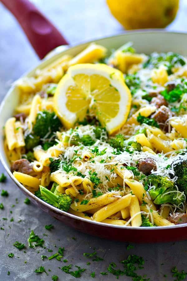 Loaded with sausage, flavorful roasted broccoli and tons of lemon and Parmesan cheese, this 20-minute penne skillet is going to quickly become a dinner regular it's so easy and so good!