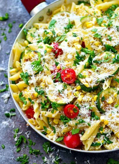Classic pasta primavera made summer-style with an abudance of flavorful grilled veggies and tons of Parmesan on top. --- put this easy one on the summer dinner rotation!